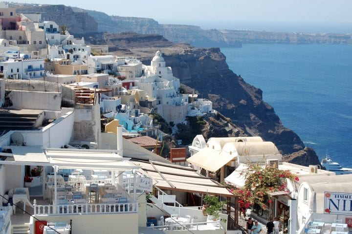 Santorini, Greece, is one of many ports of call cruise guests have the opportunity to visit as part of a Mediterranean Sea cruise. (U.S. Air Force photo/Staff Sgt. Lindsey Maurice)