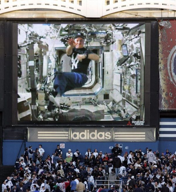Astronaut yankees stadium sent to space