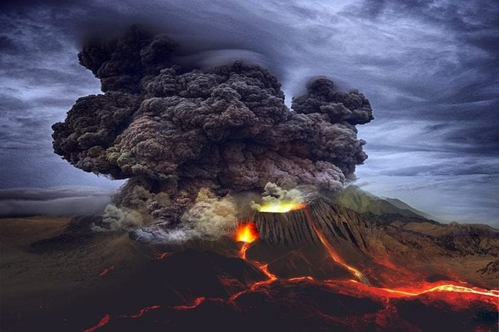 a vocanic eruption in the mountains