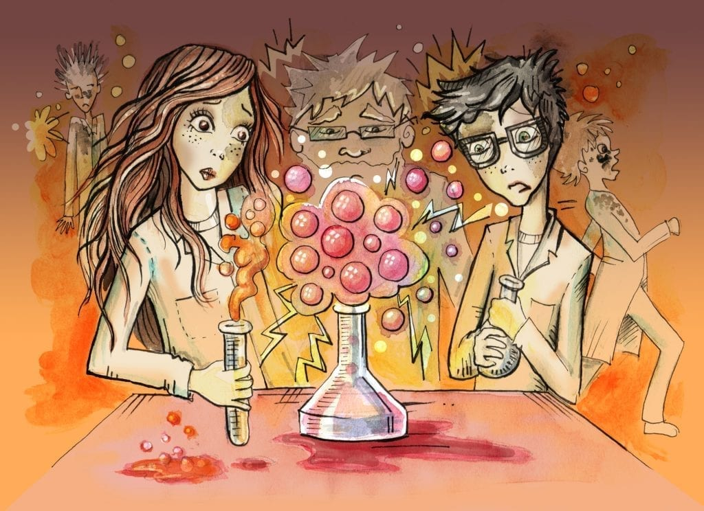 Kids performing experiment in the laboratory. Hand drawn ilustration digitally colored