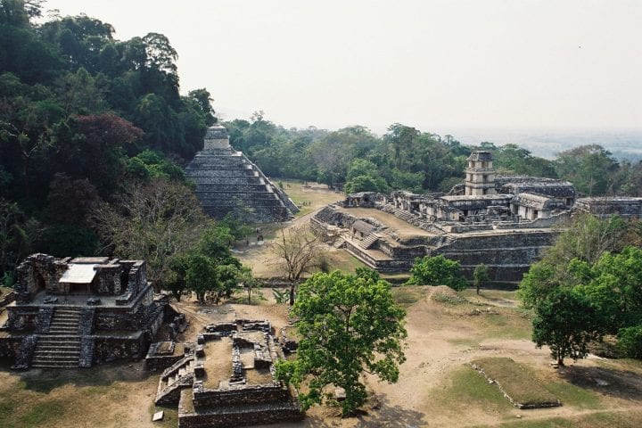 mayan temples from a distance