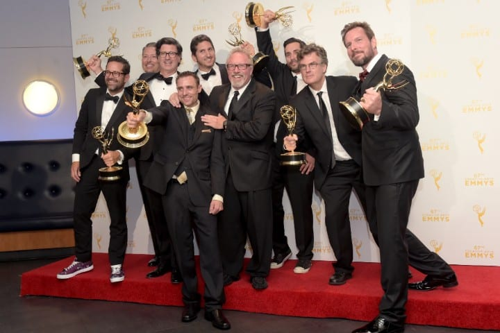 The cast with Emmy awards