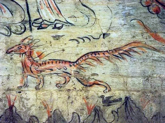 fox painting, ancient fox, mythology
