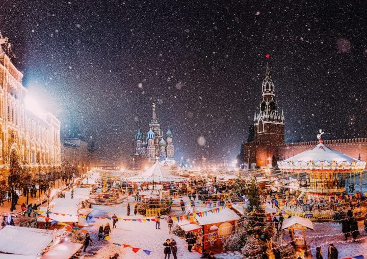 Christmas market at Red Square Moscow