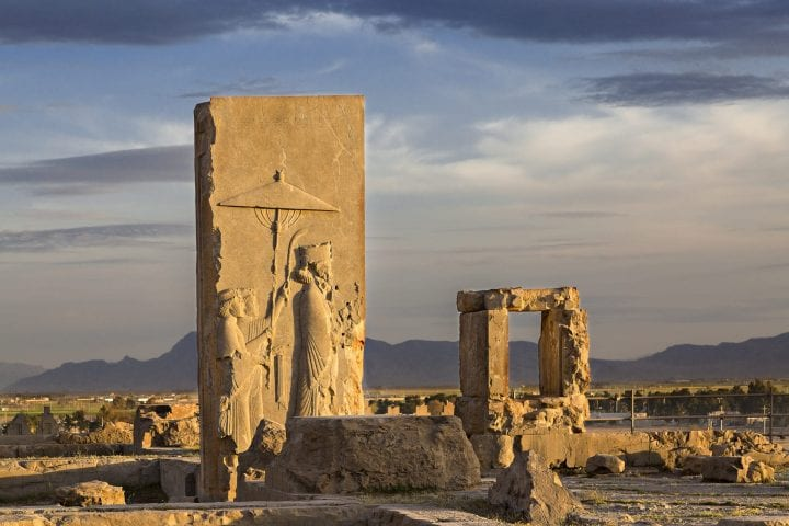 Remains of Persian city of Persepolis in Iran.