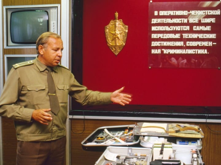 Open days at the KGB school in Moscow, Russia, on July 7th, 1991. Pictured: an exhibition of objects and tools used by agents.