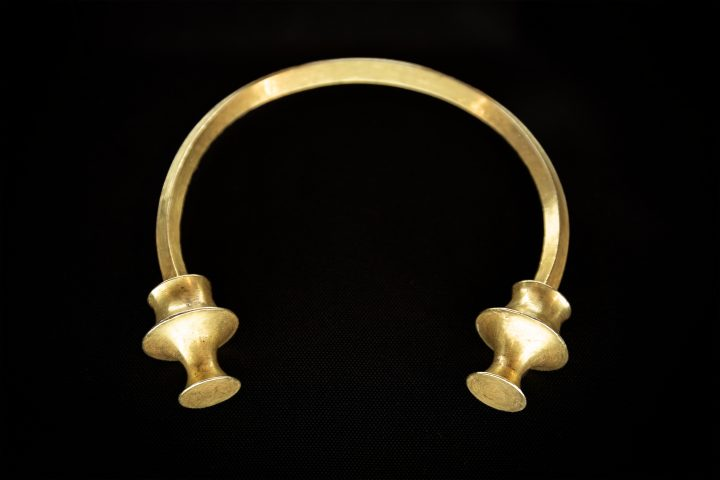 Antique golden bracelet called torc. Rigid neck ring or bracelet from Celts. Circa 2nd to 5th century. Galicia, Spain