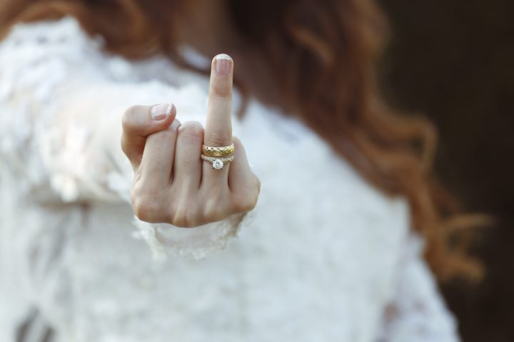 Bride showing ring finger