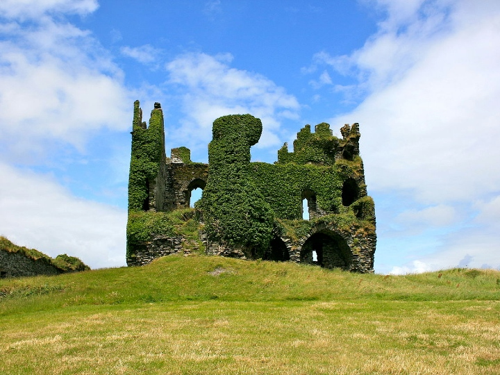 Ballycarbery Castle, abandoned, overgrown