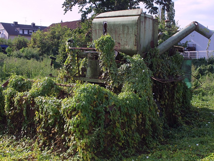 Sprockhoevel, many farmers have to be able to hold their farm, while still practicing a job. Overgrown agricultural equipment, combine harvester