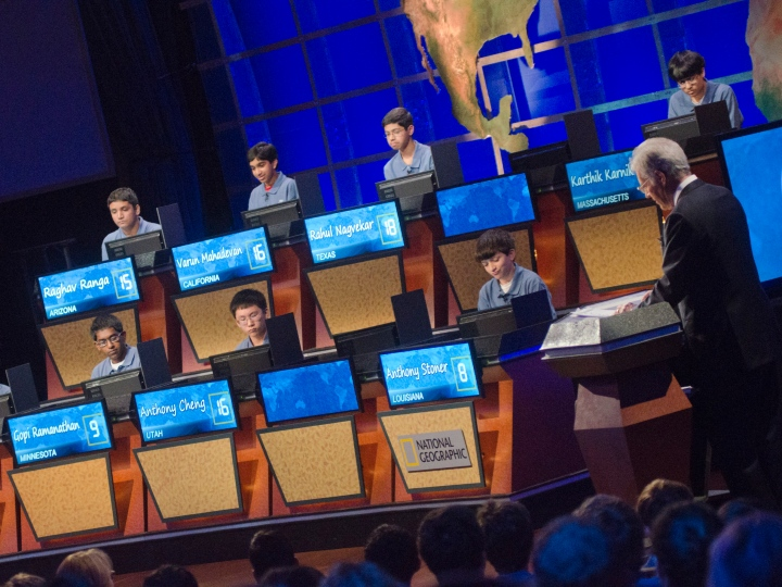 Alex Trebek hosts the 2012 National Geographic Bee Championship Round at the National Geographic Society on May 24, 2012 in Washington, DC