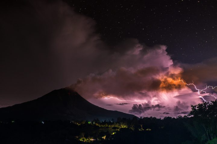 A view of thunderbolt as Mount Sinabung eruption spew ash volcanic in North Sumatra, Indonesia