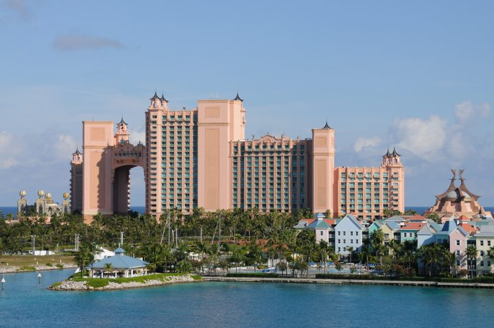 """""""Large modern hotel and new development of old-style buildings, Paradise Island, Bahamas."""""""