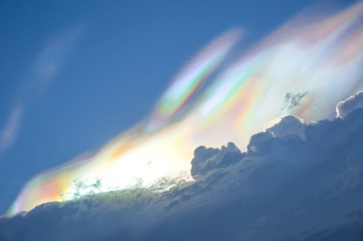 Rainbow colour over raincloud in the sky