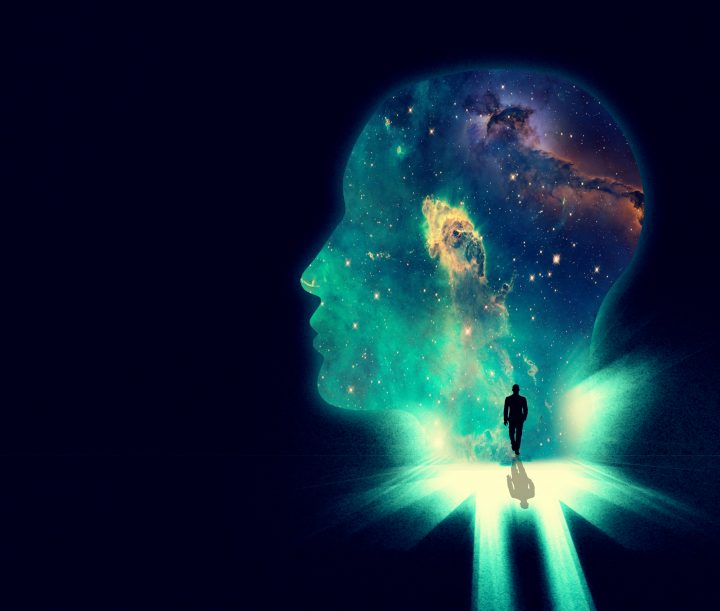 Illustration of a man walking towards a huge shape of a person's head overlaid with an image of the cosmos