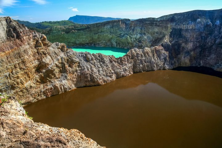 Crater lakes of various colors of the stunning Kelimutu volcanoe in Flores in Indonesia