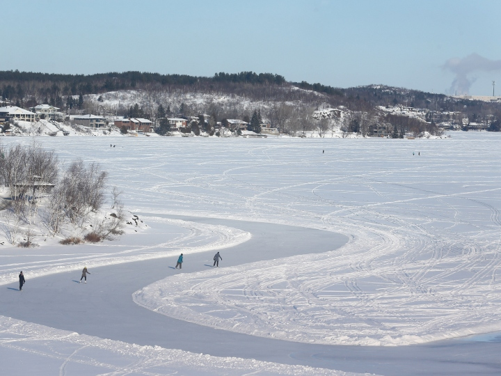 A wide skating path is created on Ramsey Lake every winter and becomes the centre for winter activities near Science North in Sudbury. January 22, 2016