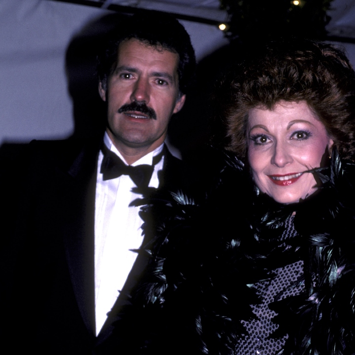 Alex Trebek and Carol Lawrence attend Variety Arts Club Tribute Gala Honoring Lucille Ball on November 18, 1984 at NBC TV Studios in Burbank, California.