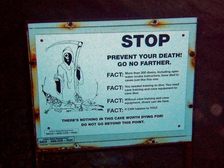 sign, scary sign, cavedive, creepy