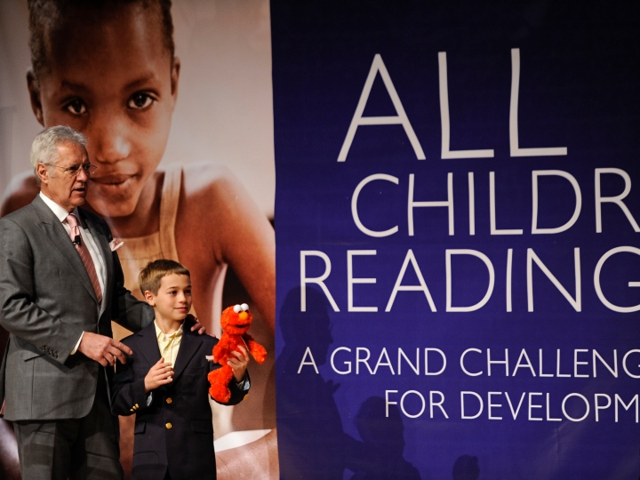 Alex Trebek, Host of Jeopardy! speaks at the All Children Reading: A Grand Challenge for Development Launch at Ronald Reagan Building on November 18, 2011 in Washington, DC.