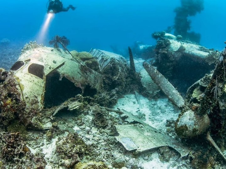 plane wreck WWI, underwater, scary