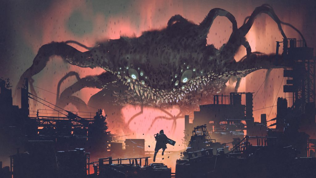 sci-fi scene showing the giant monster invading night city, digital art style, illustration painting