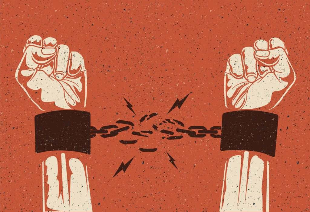 Human hands break the chain. Freedom release concept. Broken chain. Vintage styled vector eps 10 illustration.