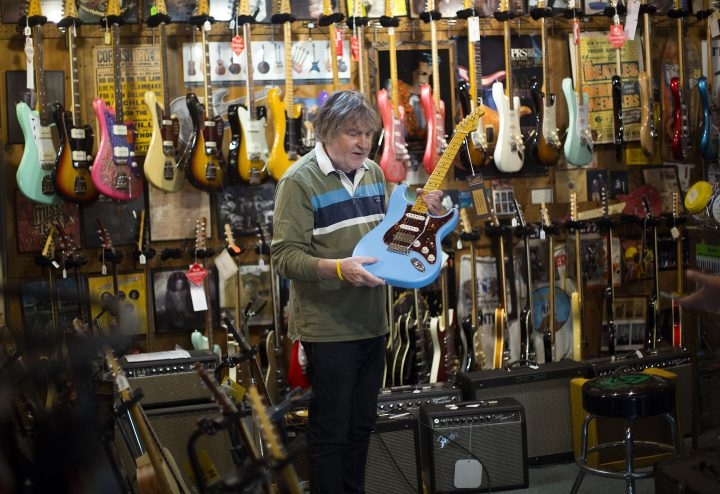 CORNISH, ME - SEPTEMBER 16: John Barton is a Cornish resident and local musician who owns Friendly River Music, a music shop that sells mostly high-end guitars. (Staff photo by Derek Davis/Portland Press Herald via Getty Images)