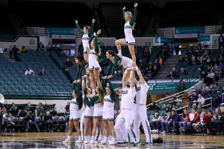 CLEVELAND, OH - JANUARY 04: Cleveland State cheerleaders perform during the second half of the college basketball game between the Youngstown State Penguins and Cleveland State Vikings on January 4, 2020, at the Wolstein Center in Cleveland, OH.(Photo by Frank Jansky/Icon Sportswire via Getty Images)