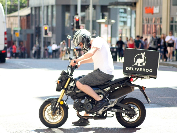delivery driver, motorbike, food delivery