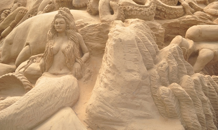 Sand sculpture of a mermaid