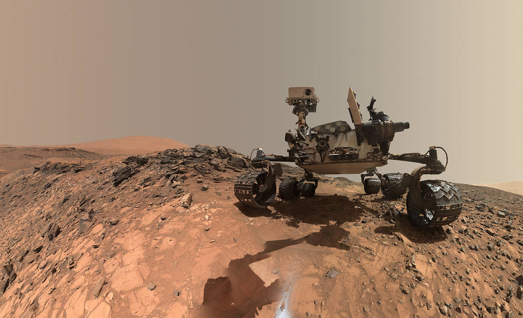 """Looking Up at Mars Rover Curiosity in 'Buckskin' Selfie Download This low-angle self-portrait of NASA's Curiosity Mars rover shows the vehicle at the site from which it reached down to drill into a rock target called """"Buckskin"""" on lower Mount Sharp."""